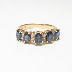 BH EFFY 14K Yellow Gold Natural Cobalt Blue Sapphire  And Diamond Ring 1.65 Cts