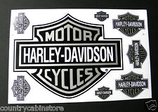 HARLEY DAVIDSON Motorcycle Black Silver Bar Shield Biker Sticker Set 8 Stickers