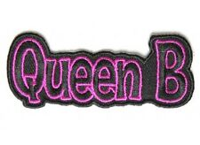 """(G35) Pink QUEEN B - 3"""" x 1.5"""" iron on patch (4188) Biker Patches"""