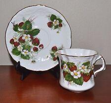 Vintage HAMMERSLEY STRAWBERRY RIPE Teacup, Saucer. Elegant Bone China Great Gift