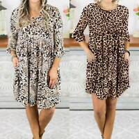Plus Size Womens Leopard Pockets Round Neck Half Sleeve Ruffle Baggy Mini Dress