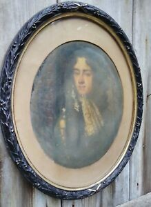Victorian Oval Acanthus Leaf Ebonised Wood Picture Frame 32.5x29.5 cm.With Glass