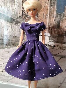 New Vintage style Handmade Eggplant 🍆 Blossom 🌼 Dress for Barbie and Silkstone