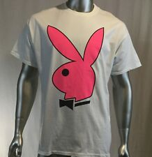 Play boy bunny t shirt, I spent the night with chippendales, Size XL, white pink