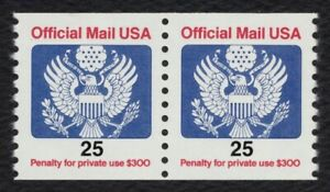 #O141 25c Official Mail, Coil Pair, Mint ANY 4=