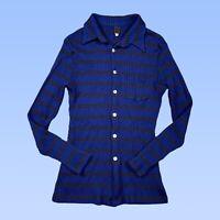 Dolce & Gabbana Womens Polo Top XS Navy Blue Rib Knit Button Stretch Wool Blend