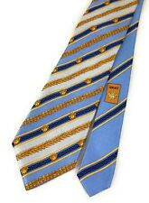 Vintage Gianni Versace 100% Silk Neck Tie Medusa Blue Gold Made In Italy