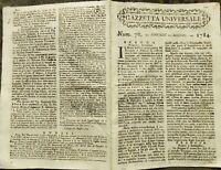 1784 GAZZETTA UNIVERSALE SU NAPOLI ASSEDIA ALGERI; MIGRAZIONE INGLESE VERSO USA