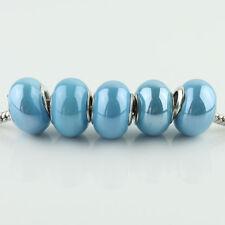 Lots Ceramic Rondelle Silver Big Hole Spacer Charm Beads for European Bracelet