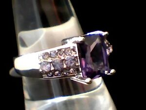 """""""ON SALE"""" Purple Amethyst & Austrian Crystals 18Kt. White Gold Filled Ring Sz. 8"""