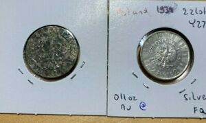 Poland 1936 2 zlote, silver, corroded, 1923 50 groszy, corroded