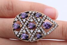 Elegant Turkish Jewelry Drop Amethyst Topaz 925 Sterling Silver Ring Size 8.5