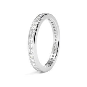 1.00Ct Princess Diamond Full Eternity Channel Set  Wedding  Ring, 9 K White Gold
