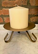 """H & H Wrought Iron Gold Tone Tripod Pillar Candle Holder & 4""""W Candle 7""""W x 4""""H"""