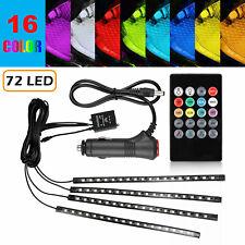 4PCS 72 LED Car Interior Atmosphere Neon Lights Strip Music Control + IR Remote