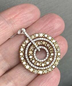 18K Gold 2.32ctw Fancy Golden Color & White Diamond Circle Round Vintage Pendant