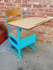Vintage Child's School Desk With Cubby Formica Desk Top Painted Blue