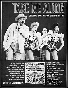 1960 Jackie Gleason Take Me Along cast Album release retro photo print ad adl83