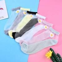 Summer Womens Girls Transparent Crystal Silk Lace Elastic Short Ankle Socks