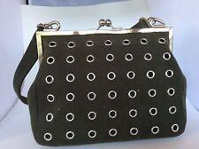 Banana Republic Dark Green ultra suede handbag with silver grommets