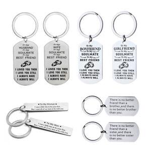 Stainless Steel Lover Husband Boyfriend Gift Keychain Mom Best Friend Keyring