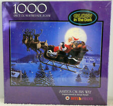 Jigsaw Puzzle Santa On His Way 1000 pcs Glow in the Dark Sealed New in Box