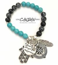 Hamsa Hand Compass Bracelet Pineapple Cocktail Happiness Angel Feather Charms