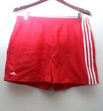 """Rare Vintage """"ADIDAS"""" Red Nylon Logo Shorts Sz: LARGE"""