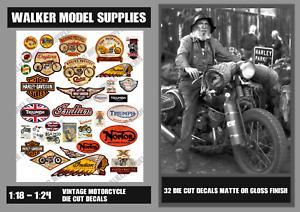 1:18 - 1:24 scale Pre-cut Vintage motorcycle Garage sign decals. Set 1