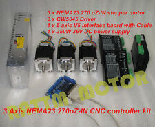 3 Axis Nema23 Stepper Motor 270oz-in 76mm +CW5045 Driver 4.5A CNC controller kit