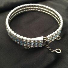 "Cuff Bracelet, 7 3/4"" Lovely Silvertone Blue & White"