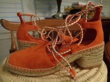 TORY BURCH orange suede leather espadrilles gladiator lace women's size 7 M $298