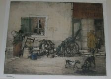 French Village Street Vendor Etching, Armand Coussens Listed Artist