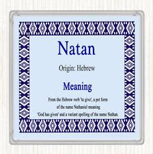 Natan Name Meaning Drinks Mat Coaster Blue