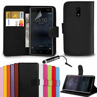 Premium Leather Wallet Case Cover For Nokia 8 6 5 & 3 -Screen Protector & Stylus