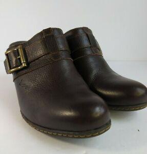 BOC Born Concept C80123 Brown Leather Slip On Slide Mule Clogs sz 9