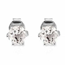 1.2ct, 5mm Genuine Natural Round Topaz and Sterling Silver Stud Fashion Earrings