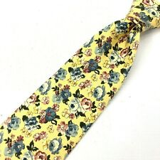 FACONNABLE Mens Yellow Floral Tie All Silk Classic Hand Made in France