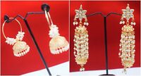 Indian Pakistani Pearl Earrings 22k Gold Plated Bollywood Women Wedding Jewelry
