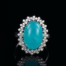 Natural Oval Cut Cabochon Blue Amazonite Diamond Halo Ring Solid 14K White Gold
