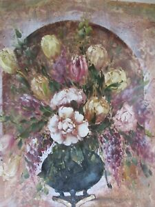 still life colourful flowers vase classic large oil painting canvas original