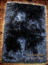 FUR ACCENTS Faux Fur Area Rug Carpet Runner Black Shag 2' x 5'