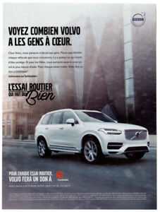 2016 VOLVO XC90 Original Print AD - SUV Centraide white car photo French Canada