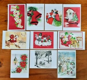 Collection of 10 New Vintage Style CHRISTMAS Postcards Noel Greetings KF4