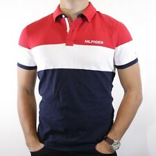 NWT Tommy Hilfiger Men's Blue Red & White Stretch Polo Spelled Out Logo Size L