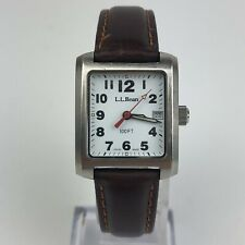 L.L. Bean Outdoor Brown Leather Strap Womens Watch Square Case 24mm M1108