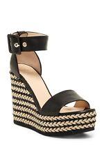 $450 AQUATALIA  Kady Wedge Espadrilles Sandals Black Ankle Strap Pumps  Shoes 9