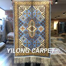 Yilong 2'x3' Home Decor Blue Area Rugs Handmade Bedroom Classic Silk Carpet 247C