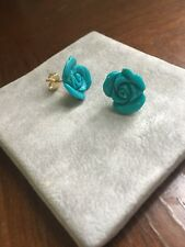 14K Yellow Gold Turquoise Floral Flower Carved Stud Earrings