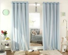 BLOCKOUT EYELET CURTAINS Double Layer Bridal Lace GIRLS Curtain AQUA